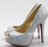 Wholesale&Free Shipping 2012 Ladies' Fashion Genuine Leather Crystal Shoes High Heels For Wedding