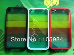 rainbow back cover case For iphone4/iphone4S Anti-glare Tpu soft frame +hard rainbox back cover Freeshipping(China (Mainland))