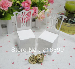Wholesale Miniature Chair Place Card Holder and Favor Box 100PCS/LOT best for candy boxes and wedding favors Gift box(China (Mainland))