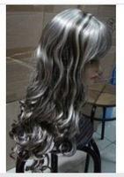 New grey brown mix long curly wig +Gift