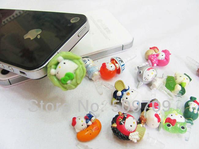 20 pcs Hello Kitty Cosplay Series Earphone Jack Plug, Hellokitty Earcap for iphone ipad ipod, mobile phone, mp3(China (Mainland))
