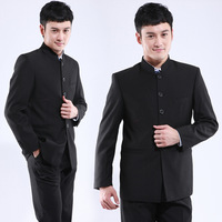 X4h1 stand collar men's suits zhongshan suits set chinese tunic black school wear man professional sets black color