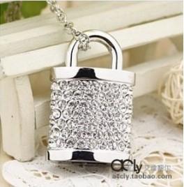 Christmas gifts New cute crystal lock usb 2.0 memory flash stick pen drive 4-32GB(China (Mainland))