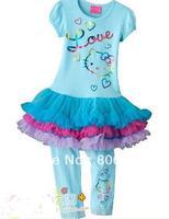 children's set 5pcs/lot girls princess dress  fashion pretty dresses hello kitty tutu t shirt/shirts + pants  DLH