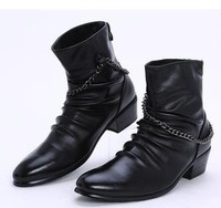 2012 new free shipping cowboy boots men's boots men's casual shoes fashion trend high men boots