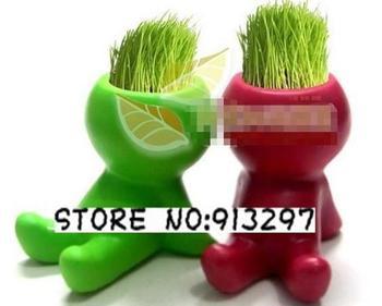 wholesale cute Colourful cartoon Hair man baby Plant BonsaiGrass Doll Office Mini Plant Fantastic Home Decor pot+seeds 4 design