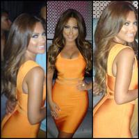 lady's sexy party club wear bright orange dresses woman elastic bandage HL zipper short tank candy color high quality HL1004