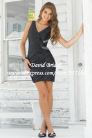 New Arrival GS502 Sheath Beaded V Neck Pleated Short Cocktail Dress Black