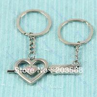 1 Pair Arrow Heart Keychain Love You Pendant Key Chain Ring Keyfob Lovers Gift Free Shipping