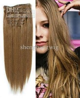 Wholesale hair extension100% virgin brazilian hair Clip in Hair Extensions 10Pcs\set 120g color 8 5set to sale