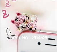 2pcs Cute Crystal Sleeping Cat Ear Cup Anti Dust Plug Cover Charm for iPhone 4 4s 5G 3.5mm Free Shipping