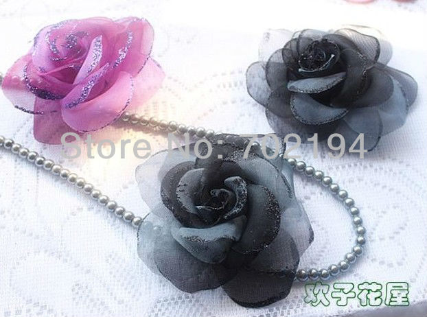 Double color lace Rose with Golden Border artifical flower corsage pin garmnt accessories DF003 in free shipping 40pcs/lot(China (Mainland))
