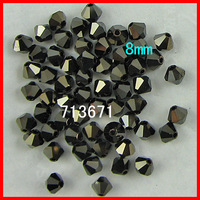 Free Shipping, 144pcs/Lot Chinese Top Jet Nut 8mm Crystal Bicone Beads