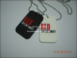 "Taylor Swift Red necklace, silicon dog tag with 24"" ball chain, 2colours, free shipping(China (Mainland))"