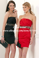 New Fashion GS514 Sheath Beading Belt Strapless 2013 Cocktail Dress Red Short
