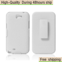 New Belt Clip Hard Rubber Case Stand Cover For Samsung Galaxy Note II 2 N7100 Free Shipping UPS DHL EMS HKPAM CPAM FC-56