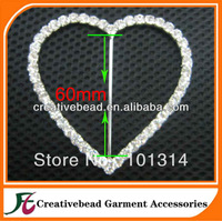 High Quality Heart Rhinestone Buckles Slider 100pcs/lot 60mm inner