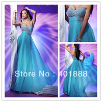 sexy sweetheart beaded long blue chiffon illusion dress