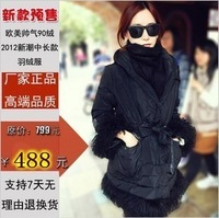 2012 autumn and winter female roll wool slim medium-long down coat female