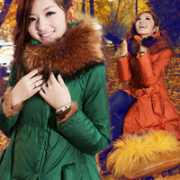 2012 luxury italian fur collar casual medium-long down coat