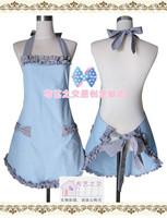 Free shipping Korean fashion floral cotton lattice bow apron blue color kitchen aprons