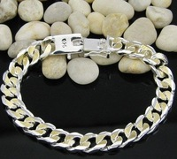 High quality 925 sterling silver 10mm 18k gold plated man bracelets/gold bracelet