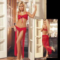 Free shipping Split sexy full dress sexy underwear set the temptation transparent Wholesale and retail