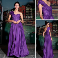 Free Shipping DORISQUEEN ladies one shoulder purple evening dress for formal occasion 30770