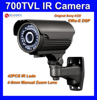 Sony CCD & Effio-E 700TVL CCTV Camera with 42pcs IR LEDs, 40m IR Range, 4-9mm Lens, 700TVL Sony DSP IR Camera