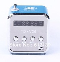 USB MINI STEREO DIGITAL SPEAKER FM RADIO MICRO SD CARD PLAYER BOX TD-V26 BLUE
