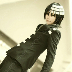 Soul Eater DEATH THE KID Short Black White Anime Cosplay Party Hair Full wig(China (Mainland))