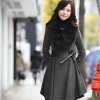 Autumn and winter elegant fur collar pleated slim waist slim wool coat gentlewomen long design trench outerwear plus size