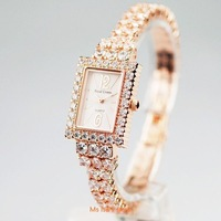Special Counter Quality Royal crown 3584 gentle diamond bracelet jewelry ladies rose gold plated fashion watch Free shipping