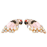 Christmas Gift  Parrot CZ Crystal Pearl Beads Gold Plated Stud Earrings 1 pair + Gift Box ER191