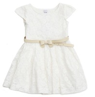 new arrival hot sell Girls cotton lace hollow White Princess Dress with belt,formal dress free shipping