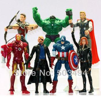 Retail 7x Marvel The Avengers Iron man Hulk Thor Captain America Black widow Figure 5-7inch Free Shipping