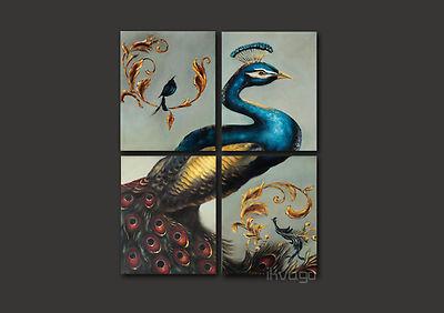 Arte moderna original da pintura a óleo no pavão do grupo painting~#128 da parede da lona