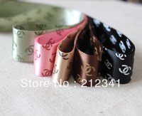"Free shipping   1"" 25mm Classical LOGO printed satin ribbon Mixed 5 colours"