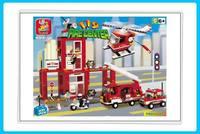 Best gift Building Block Set- SlubanB3100 fire station     Model Enlighten Construction Brick Toy Educational  Toy for Children