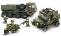 Building Block Set SlubanB0307  Army-logistics forces    Model Enlighten Construction Brick Toy Educational  Toy for Children