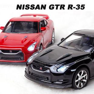 Nissan nissan gtr r35 black alloy car models acoustooptical(China (Mainland))