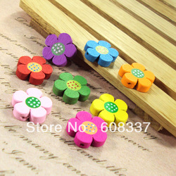 Free Shipping ,50pcs/lot 19MM Mixed Assorted Colorful Flower Wooden Beads Charms Spacer Beads Fit Bracelets fashion beads(China (Mainland))