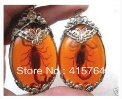 2 Vintage Tibet Insect Amber Scorpion Pendant Necklace(China (Mainland))