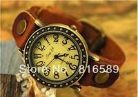 Корова кожа Часы, женщины, три катушки обмотки квадратных заклепки часы рома смотреть заголовка для девочек