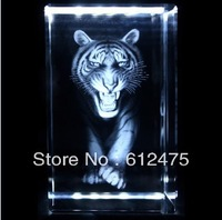 Free shipping 5*5*8cm Crystal image with 3D laser tigar,christmas animal gift ,promotional new year home decoration paperweight