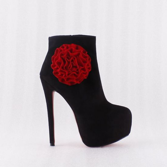 Western 2013 New Style Discount Cute Cheap Heels Flower Ankle Boots High Heel Shoes(China (Mainland))