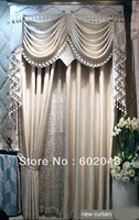 New high quality leaves pattern jacquard imitated silk curtain drapes blind  with embroidery tulle