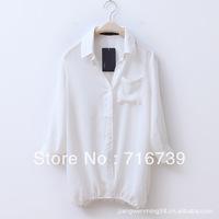 HOT SELL!women's classics three quarter shirts,fashion female cardigan blouse,ladies turndown collar top,free shipping,ID:1125