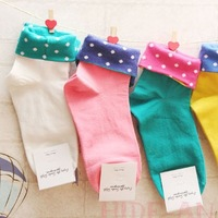 Roll up hem polka dot socks candy color sock 100% cotton socks