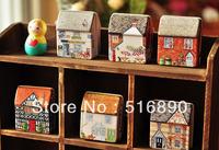 FREE SHIPPING!24pcs/lot New vintage style house shape Tin Box Storage case Wedding Candy Box Wedding Gift
